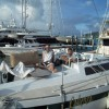 Aboard Cadenza with bronze sculpture en route to St. Barths
