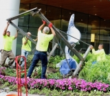 Installing Acrobat, bronze, FMC Tower, Philly